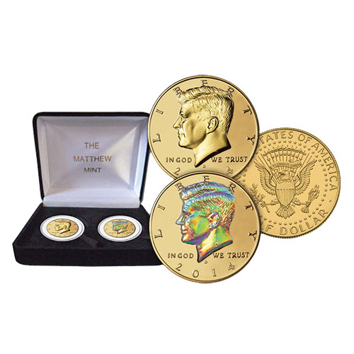 Matthew Mint 2014 Kennedy Half Dollar Set - 24K Gold/Hologram
