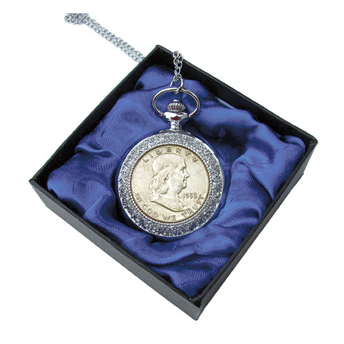 Matthew Mint Ben Franklin Half Dollar Pocket Watch