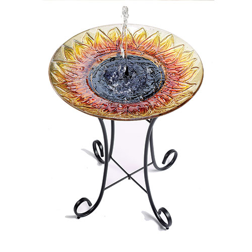 Smart Solar Sunflower Glass Birdbath