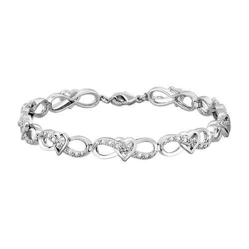 Diamond Heart Infinity Link Bracelet