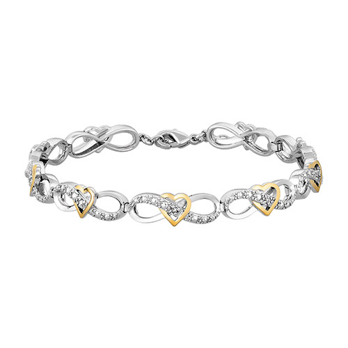 Diamond Heart Infinity Link Two-Tone Bracelet