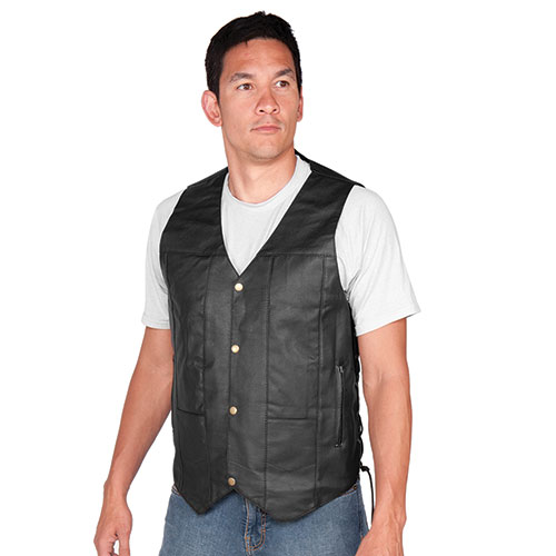 Vance Leathers 10-Pocket V-Neck Leather Vest