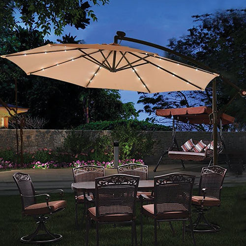 10 foot Cantilever Umbrella with LED Lights