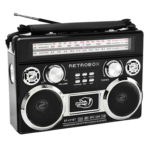 Dolphin SP-411BT Retrobox Portable AM/FM/SW Radio