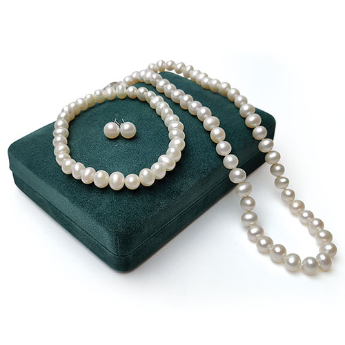 Amour Pearl Necklace, Bracelet, Earrings Set