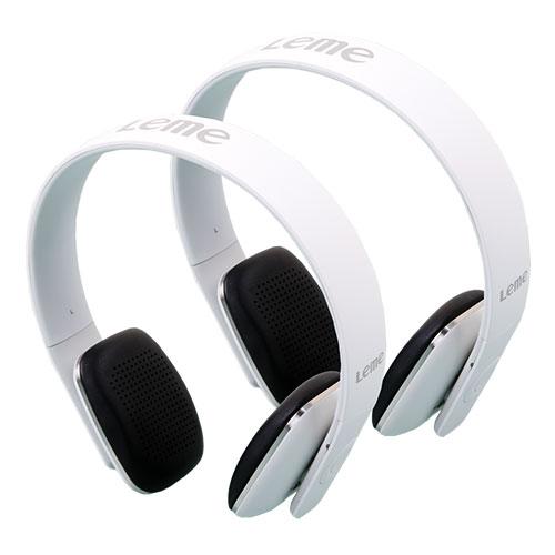 White Leme EB20A Bluetooth Headphones - 2 Pack