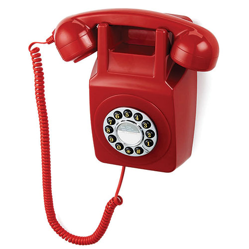 Retro Push-Button Red Wall Phone