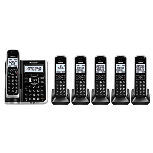 Pansonic 6-Handset Cordless Phones with Voice Assist