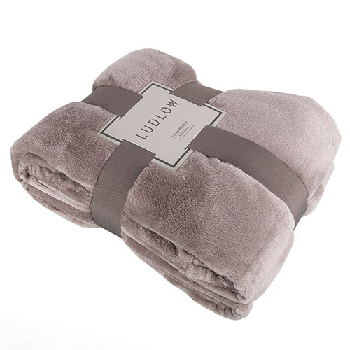 Luxurious Taupe Velour Blanket