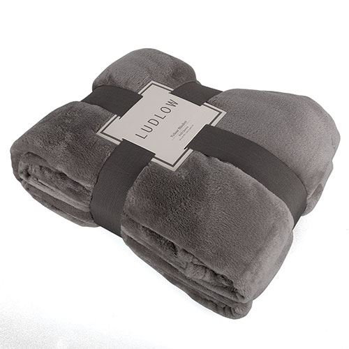 Luxurious Solid Velour Blankets (F/Q, Charcoal)