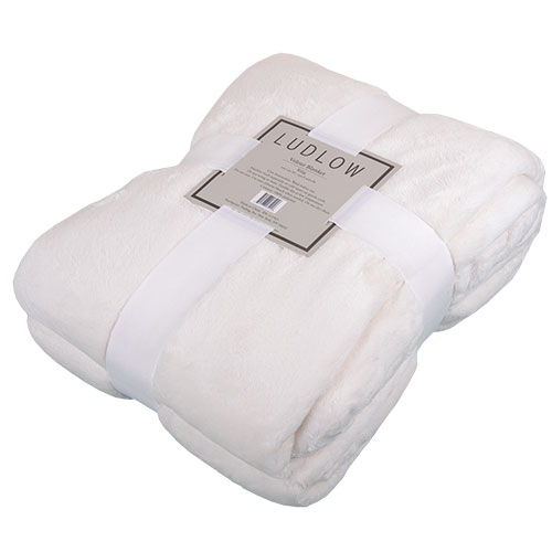 Northpoint Trading Velour Ivory Blanket