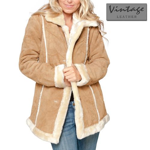 Womens Tan Suede Coat