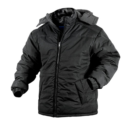 Black Fleece Lined Hooded Jacket