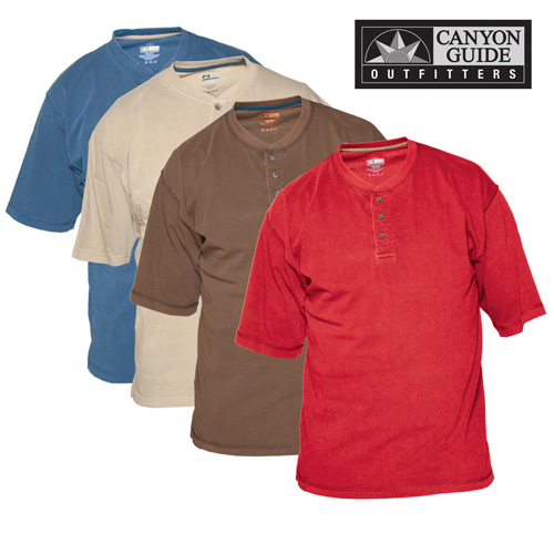 Henley Style Short Sleeve Shirts - 4 Pack