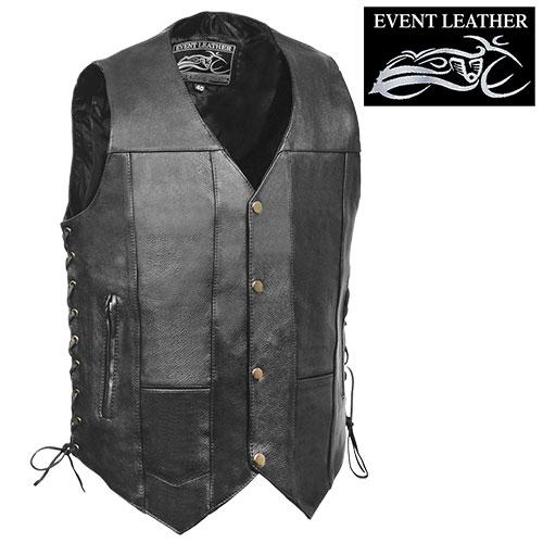 10-Pocket Leather Motorcycle Vest