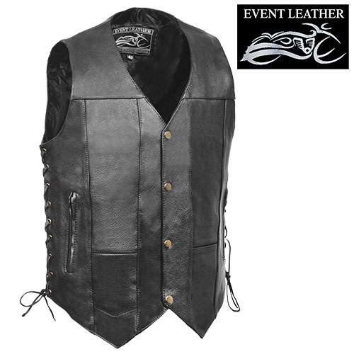 10-Pocket Leather Motorcycle Vest