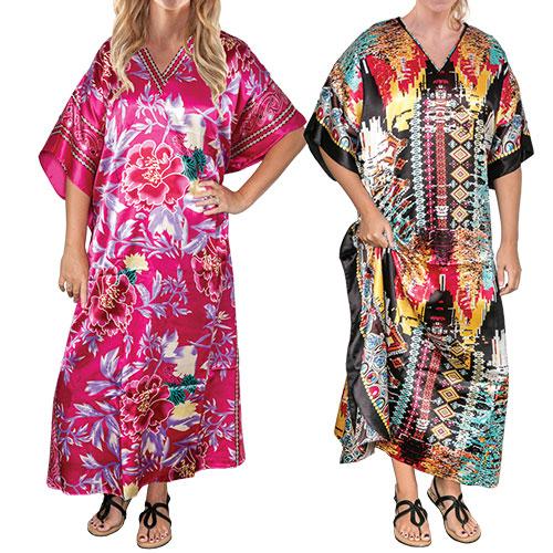Winlar Women's Nature & Pixel Print Kimono Caftans