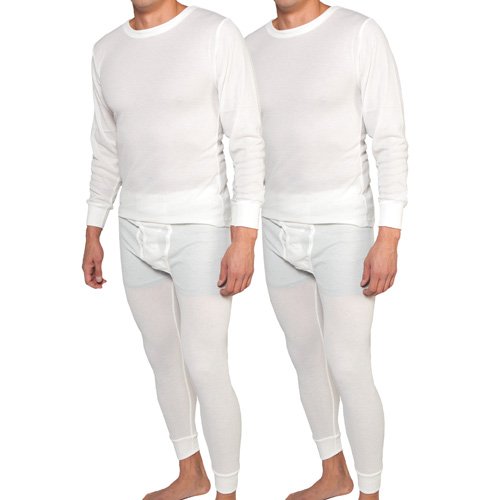 Men's White Performance Wicking Thermal Set - 2 Pack
