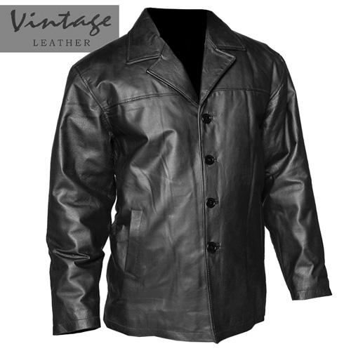 Vintage Leather Men's Black Button-Down Coat