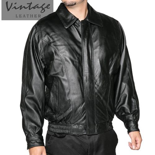 Vintage Leather Men's Black Bomber Jacket