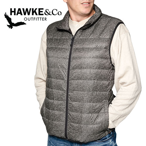 Hawke Men's Black Tweed Down Vest
