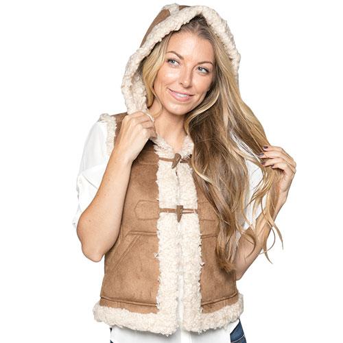 Vintage Leather Women's Dark Brown Microsuede Toggle Vest