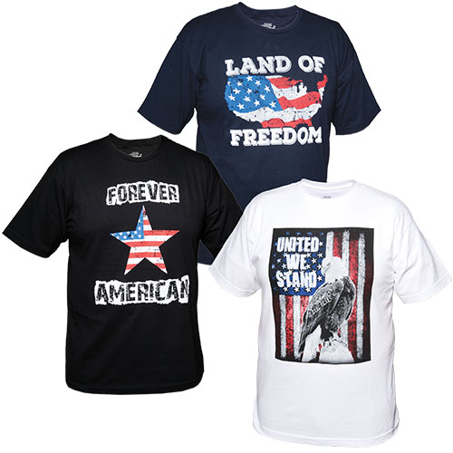 Men's Patriotic T-Shirts - 3 Pack