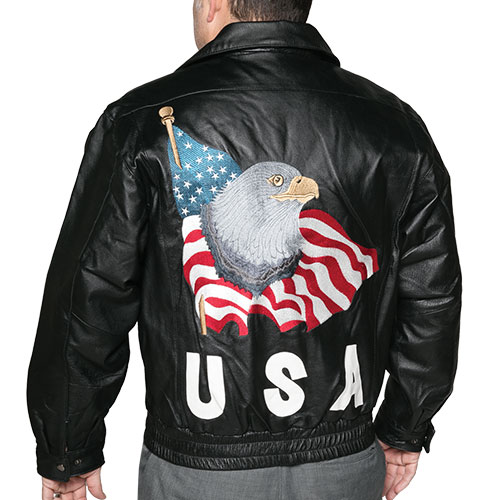 Leather World Men's USA Bomber Jacket