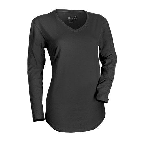 Hanes Women's Ebony Long Sleeve V- Neck Shirts
