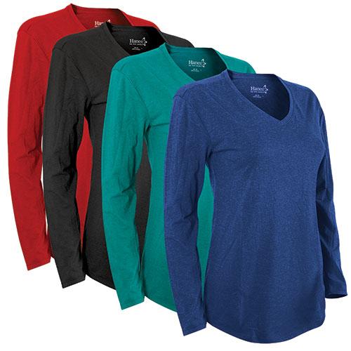 Hanes Women's Long Sleeve V-Neck Shirts