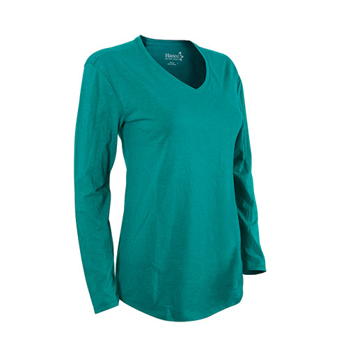 Hanes Women's Emerald Long Sleeve V- Neck Shirt