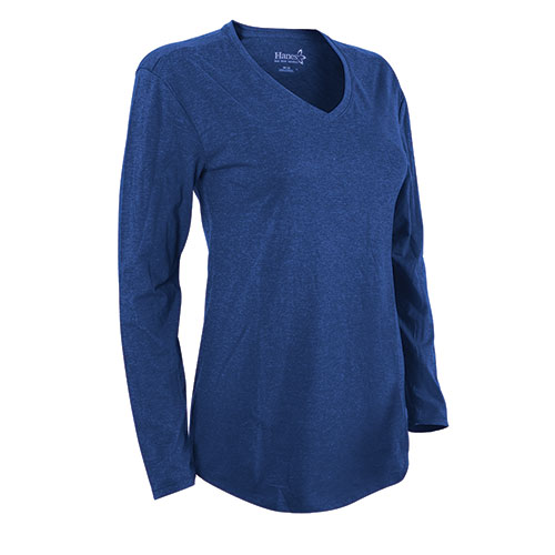 e7fb901e Heartland America: Hanes Women's Blue Long Sleeve V- Neck Shirt