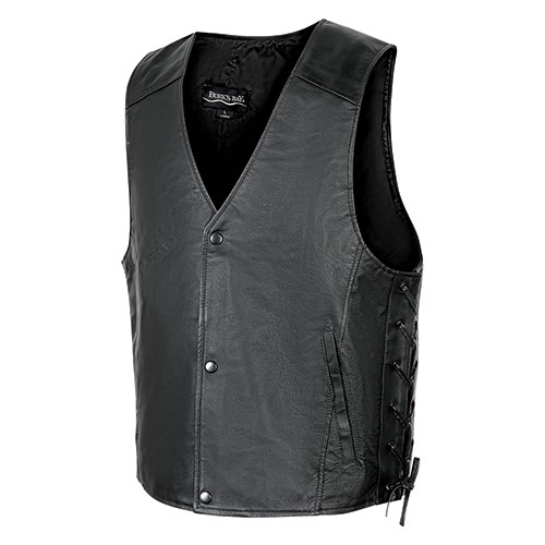 Burks Bay Men's Black Leather Vest