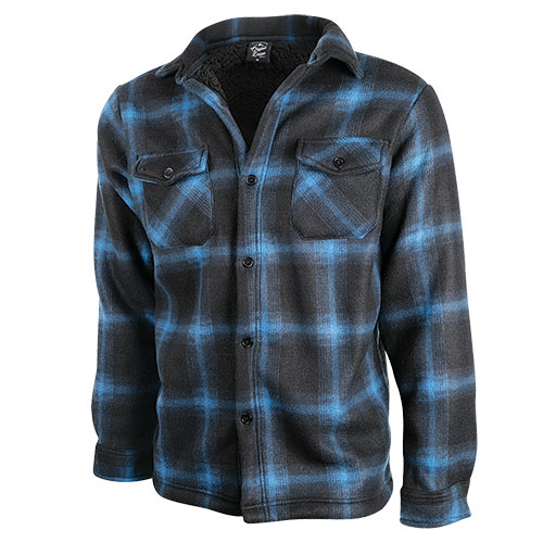 Truppa Men's Blue/Charcoal Quilt Lined Plaid Fleece