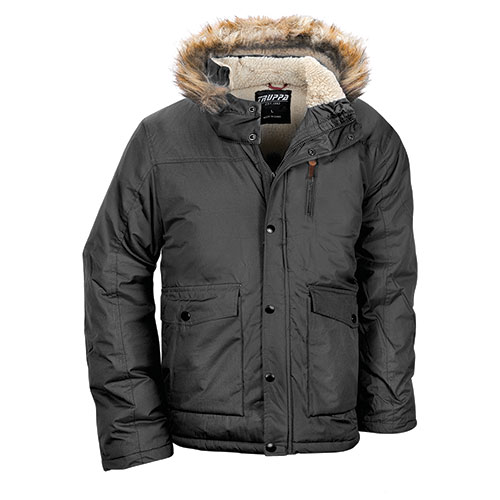 Truppa Men's Black Heavy Hooded Parka
