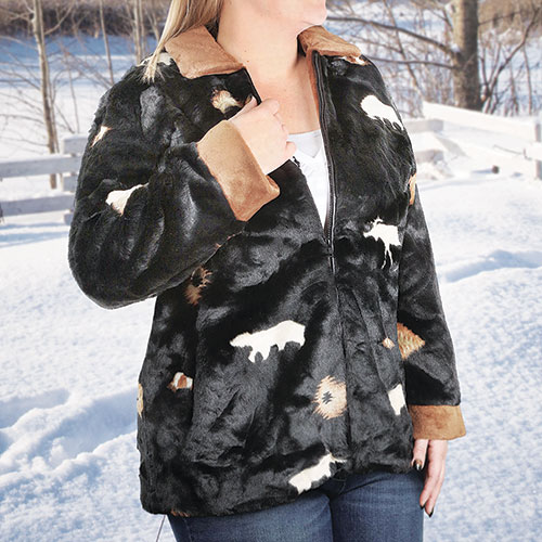 Black Mountain Women's Faux Fur Coat
