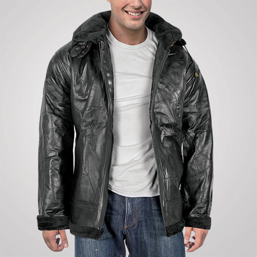 M. Collection Men's Black Leather Shearling Jacket