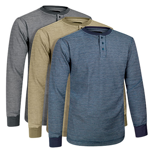 Fourcast Men's Thermal Henley Shirts - 3 Pack