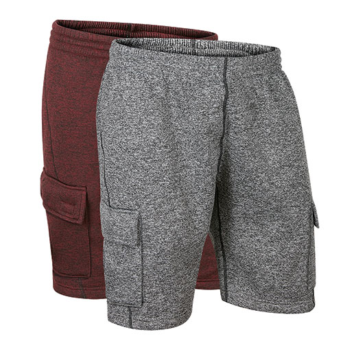 Original Deluxe Men's Grey & Burgandy Fleece Cargo Shorts