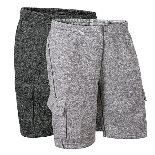 Original Deluxe Men's Grey & Black Fleece Cargo Shorts