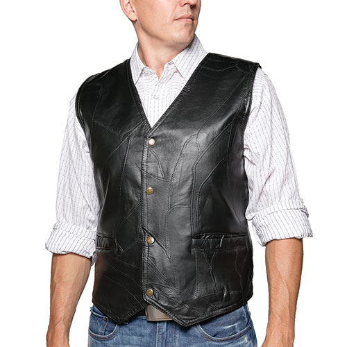M. Collection Black Patch Leather Vest