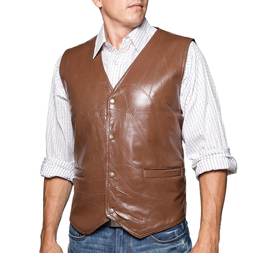 M. Collection Chestnut Patch Leather Vest