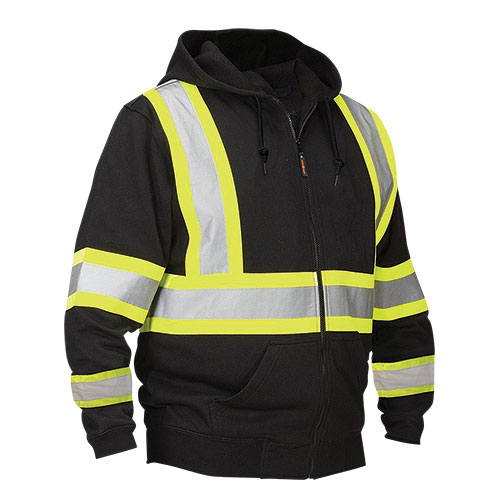 Work Ready Black Hi-Viz Stripe Hoody