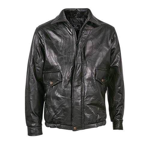 M. Collection Black Patch Leather Bomber Jacket