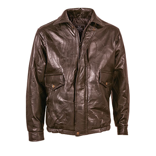 M. Collection Brown Patch Leather Bomber Jacket