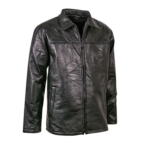 M. Collection Black Patch Leather Driving Coat