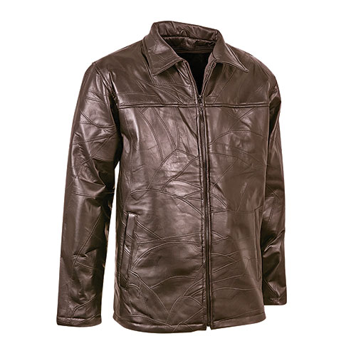 M. Collection Brown Patch Leather Driving Coat