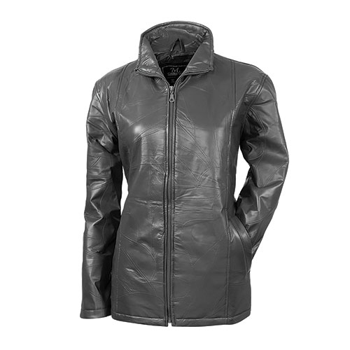 Women's Patch Pewter Leather Jacket
