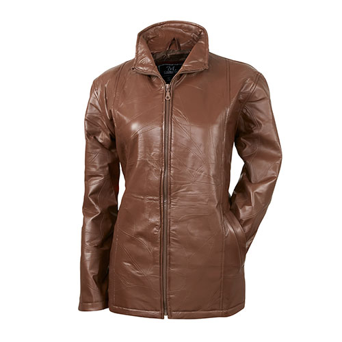 Women's Patch Chestnut Leather Jacket