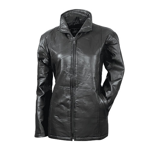 Women's Patch Black Leather Jacket